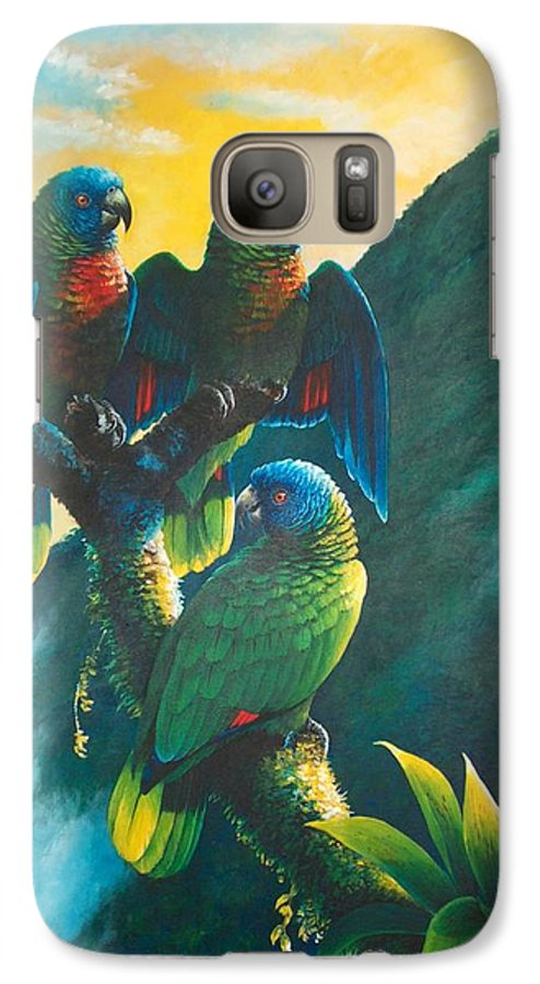 Chris Cox Galaxy S7 Case featuring the painting Gimie Dawn 1 - St. Lucia Parrots by Christopher Cox