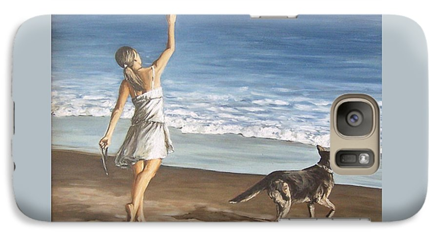 Portrait Girl Beach Dog Seascape Sea Children Figure Figurative Galaxy S7 Case featuring the painting Girl And Dog by Natalia Tejera