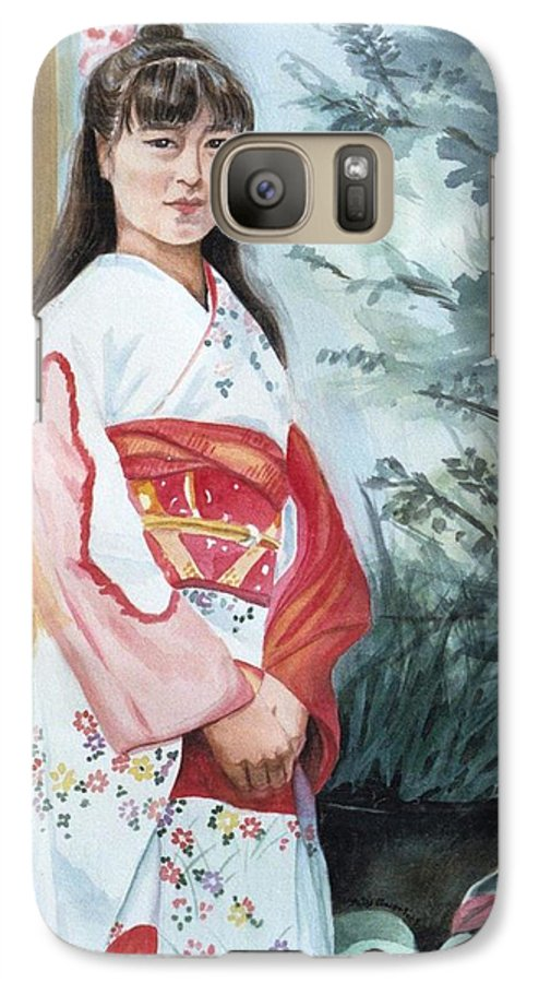 Japanese Girl In Kimono Galaxy S7 Case featuring the painting Girl In Kimono by Judy Swerlick