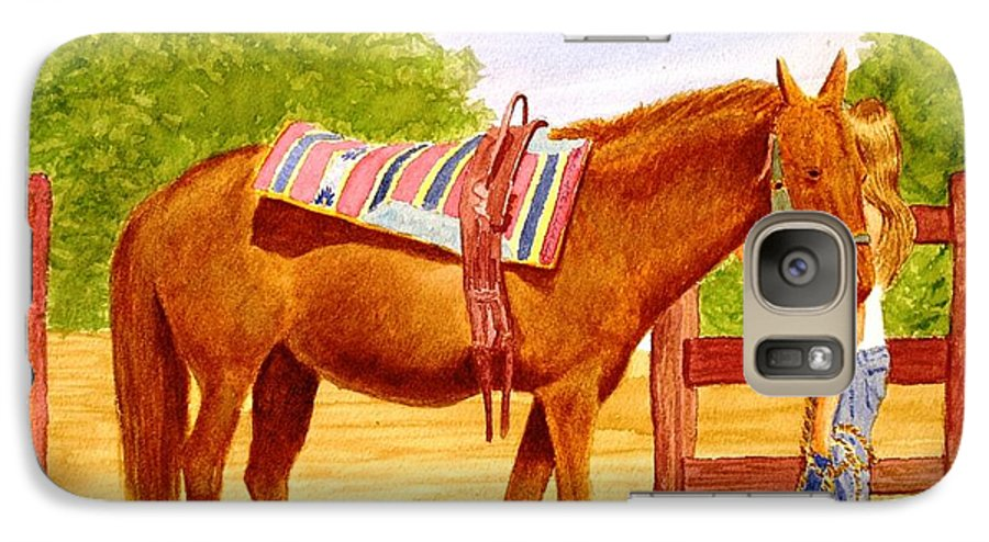 Equine Galaxy S7 Case featuring the painting Girl Talk by Stacy C Bottoms