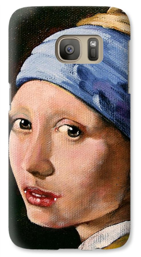 Portrait Galaxy S7 Case featuring the painting Girl With A Pearl Earring A Reproduction Of Vermeer by Joan Garcia