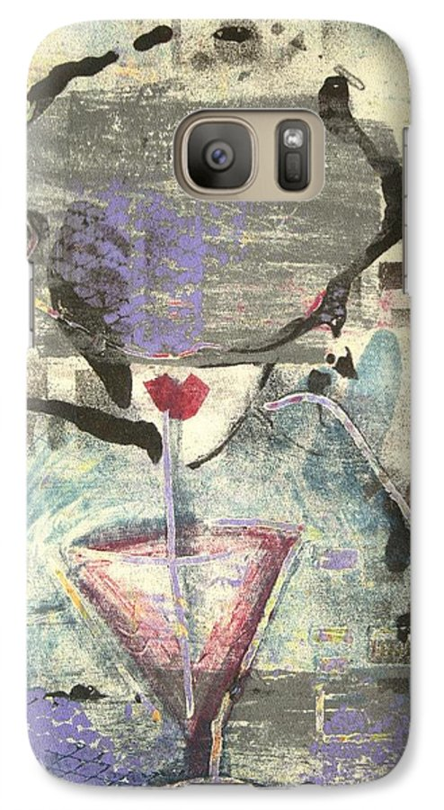 Cafe Galaxy S7 Case featuring the painting Girl With Drink by Maryn Crawford