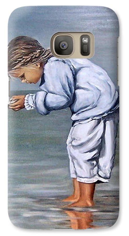 Kid Girl Seascape Sea Children Reflection Water Sea Shell Figurative Galaxy S7 Case featuring the painting Girl With Shell by Natalia Tejera