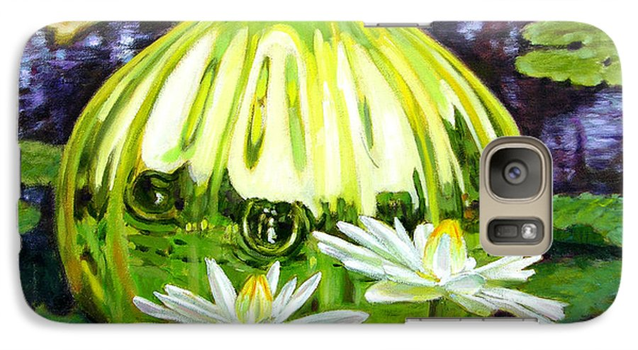 Water Lilies Galaxy S7 Case featuring the painting Glass Among The Lilies by John Lautermilch