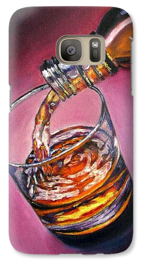 Glass Of Wine Galaxy S7 Case featuring the painting Glass Of Wine Original Oil Painting by Natalja Picugina