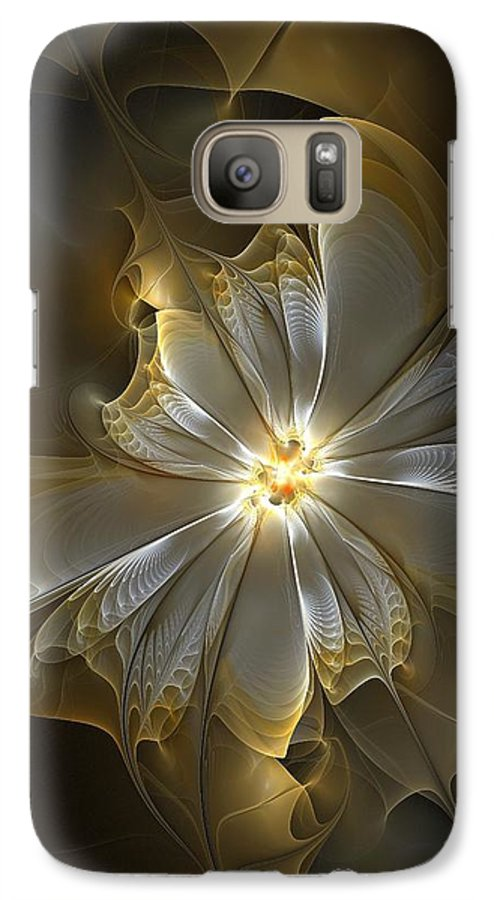 Digital Art Galaxy S7 Case featuring the digital art Glowing In Silver And Gold by Amanda Moore