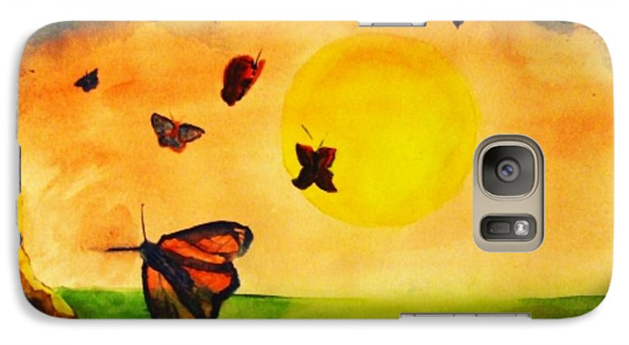 Gnome Galaxy S7 Case featuring the painting Gnome And Seven Butterflies by Andrew Gillette