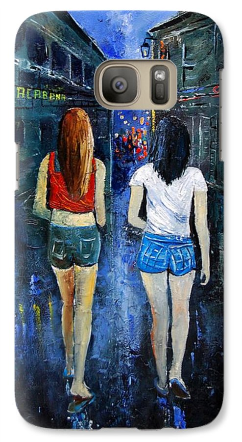Girl Galaxy S7 Case featuring the painting Going Out Tonight by Pol Ledent