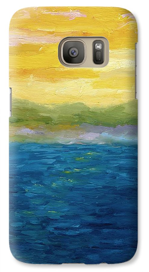 Lake Galaxy S7 Case featuring the painting Gold And Pink Sunset by Michelle Calkins