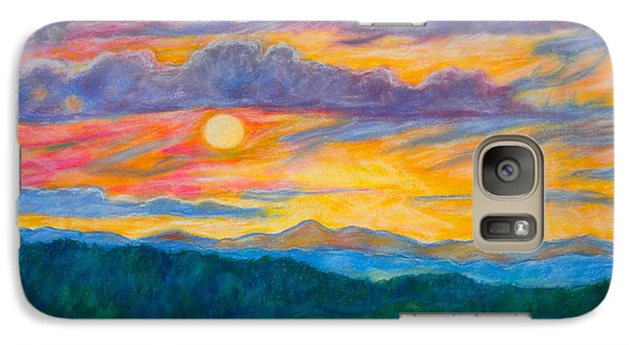 Landscape Galaxy S7 Case featuring the painting Golden Blue Ridge Sunset by Kendall Kessler