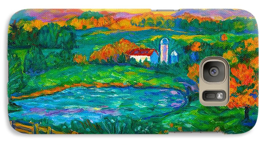Landscape Galaxy S7 Case featuring the painting Golden Farm Scene Sketch by Kendall Kessler