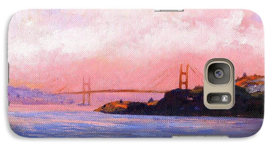 Landscape Galaxy S7 Case featuring the painting Golden Gate Bridge by Frank Wilson