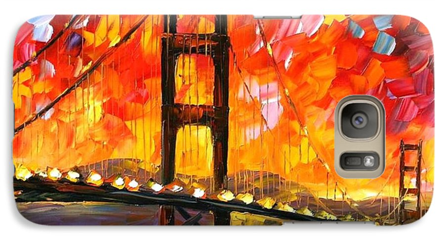 City Galaxy S7 Case featuring the painting Golden Gate Bridge by Leonid Afremov