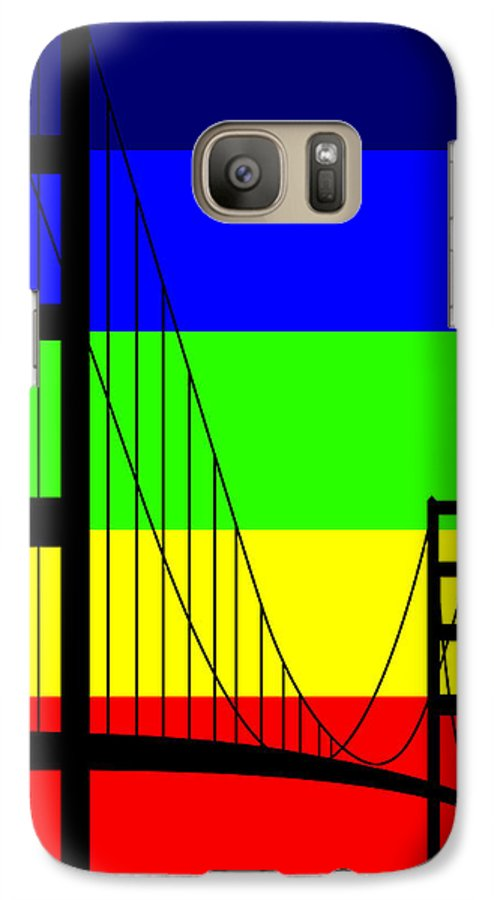Golden Gate Galaxy S7 Case featuring the digital art Golden Gay by Asbjorn Lonvig