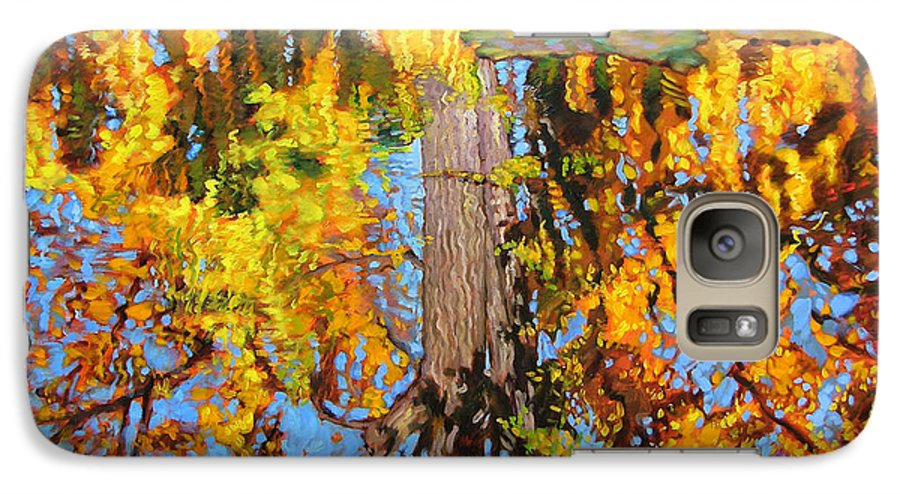 Landscape Galaxy S7 Case featuring the painting Golden Reflections On Lily Pond by John Lautermilch