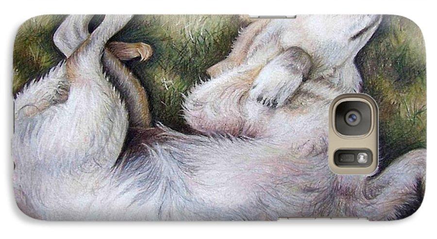 Dog Galaxy S7 Case featuring the pastel Golden Retriever Puppy by Nicole Zeug