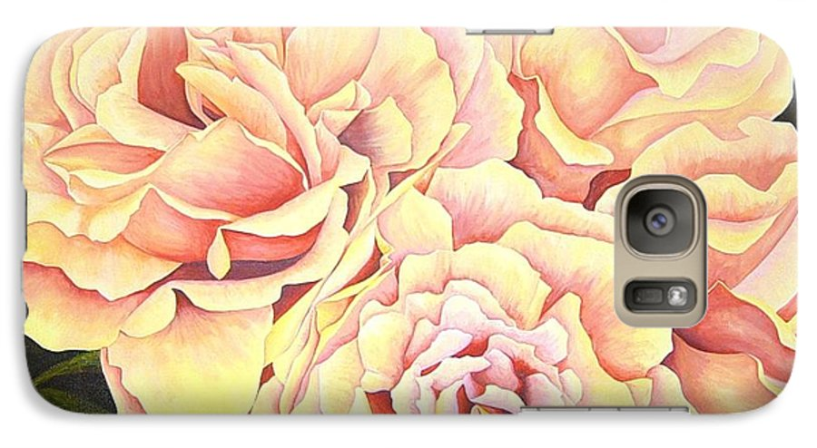 Roses Galaxy S7 Case featuring the painting Golden Roses by Rowena Finn