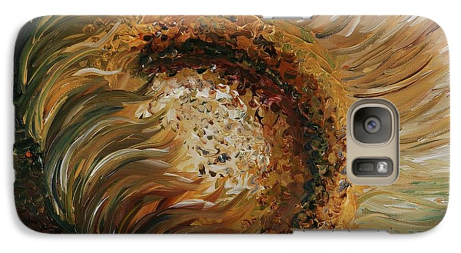 Sunflower Galaxy S7 Case featuring the painting Golden Sunflower by Nadine Rippelmeyer