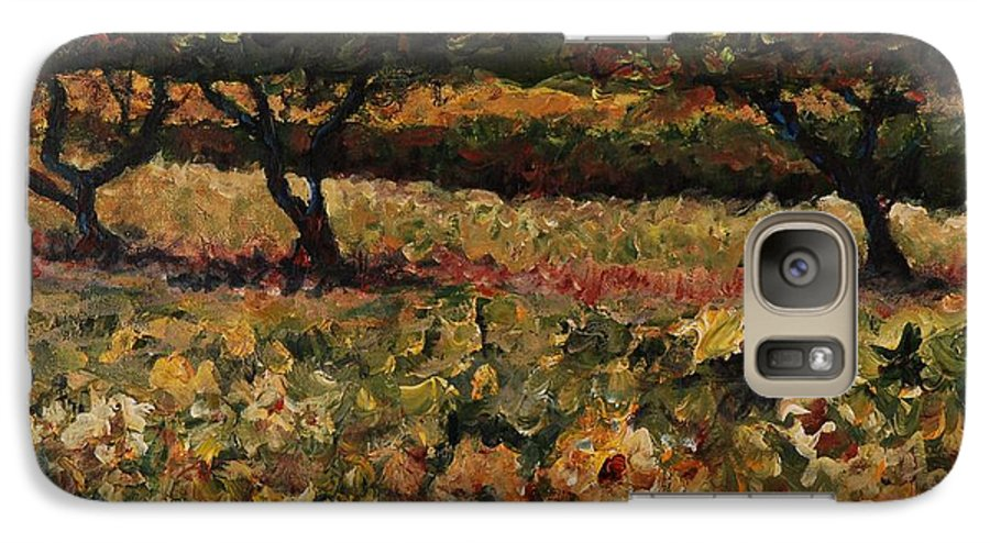 Landscape Galaxy S7 Case featuring the painting Golden Sunflowers by Nadine Rippelmeyer