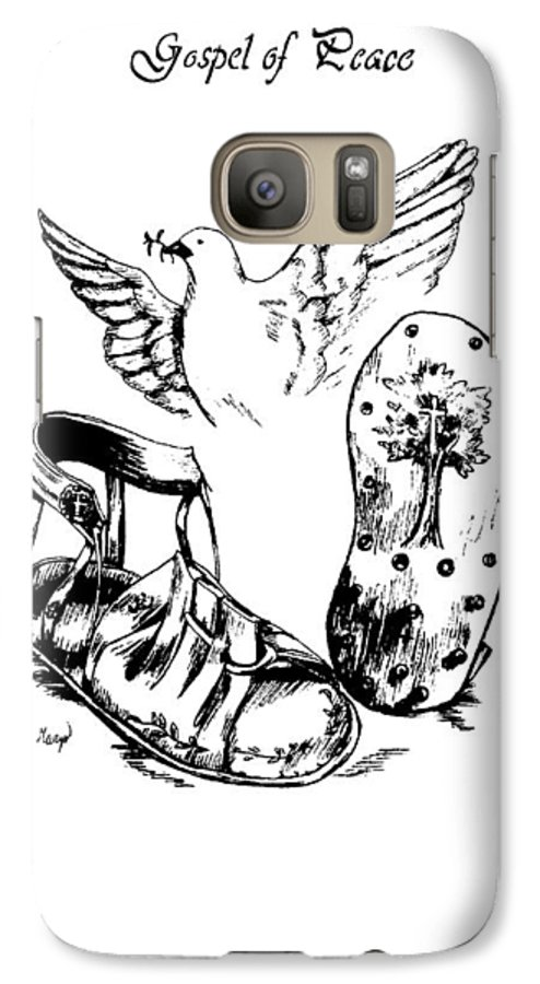 Armor Galaxy S7 Case featuring the drawing Gospel Of Peace by Maryn Crawford