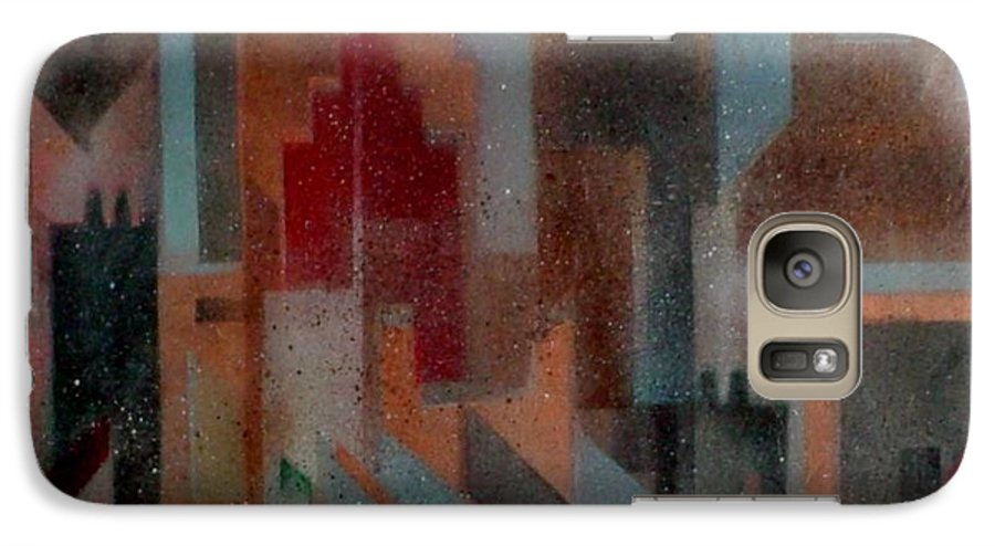 Abstract Galaxy S7 Case featuring the painting Gothem City by Anita Burgermeister