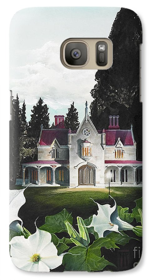 Fantasy Galaxy S7 Case featuring the painting Gothic Country House Detail From Night Bridge by Melissa A Benson