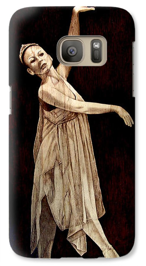 Pyrography; Woodburning; Ballerina; Light; Portrait; Shoe; Stage; Dress; Crown; Tiara; Dance; Galaxy S7 Case featuring the pyrography Grace Touching Light by Jo Schwartz