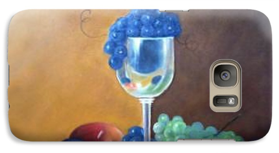 Wine Galsses With Grapes Galaxy S7 Case featuring the painting Grapes And Plums by Susan Dehlinger