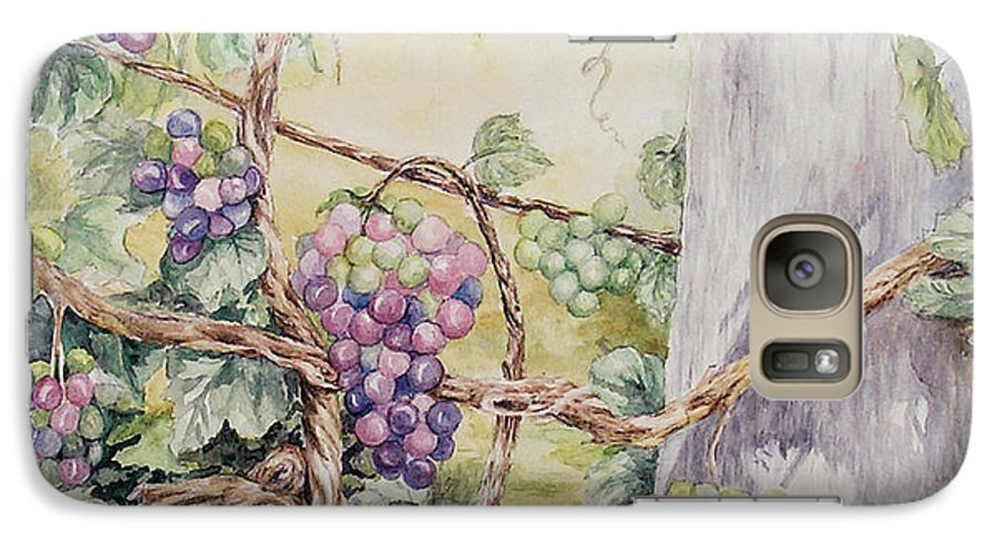 Vines Galaxy S7 Case featuring the painting Grapevine Laurel Lakevineyard by Valerie Meotti
