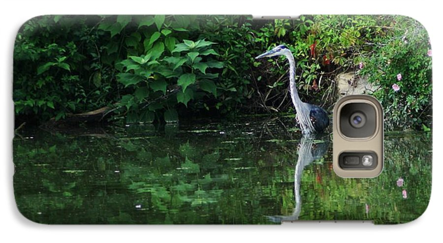 Lanscape Water Bird Crane Heron Blue Green Flowers Great Photograph Galaxy S7 Case featuring the photograph Great Blue Heron Hunting Fish by Dawn Downour