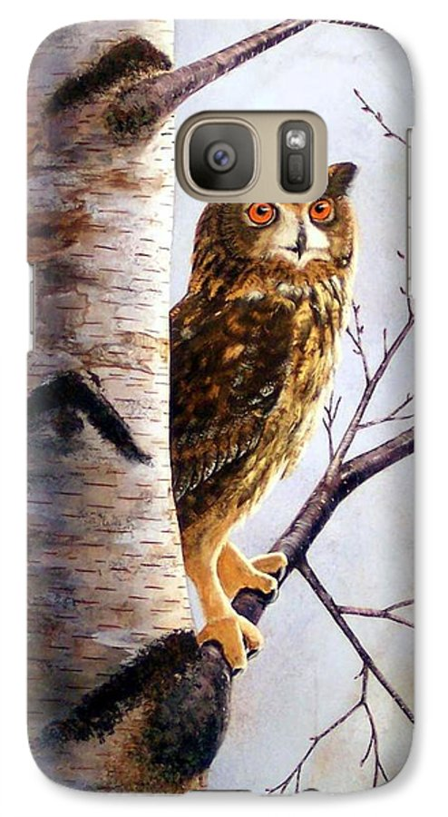 Great Horned Owl In Birch Galaxy S7 Case featuring the painting Great Horned Owl In Birch by Frank Wilson