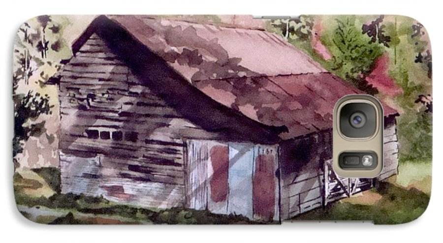 Barns Galaxy S7 Case featuring the painting Green Creek Barn by Jean Blackmer