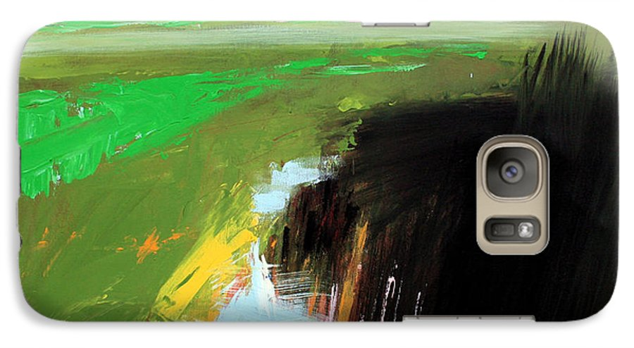 Abstract Landscape Galaxy S7 Case featuring the painting Green Field by Mario Zampedroni