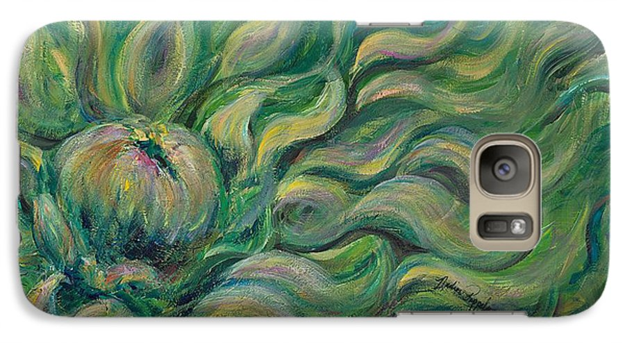 Green Galaxy S7 Case featuring the painting Green Flowing Flower by Nadine Rippelmeyer