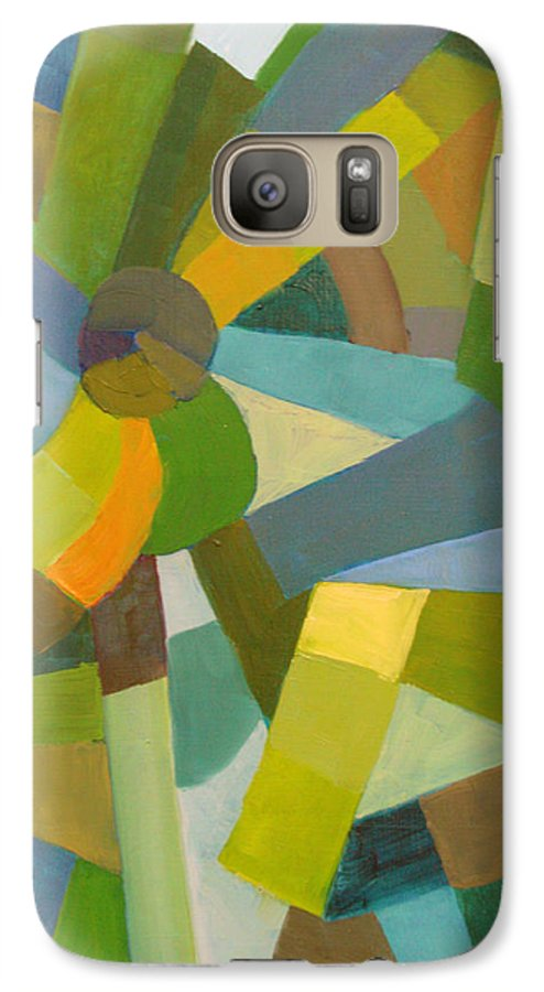 Green Galaxy S7 Case featuring the painting Green Pallette by Art Nomad Sandra Hansen