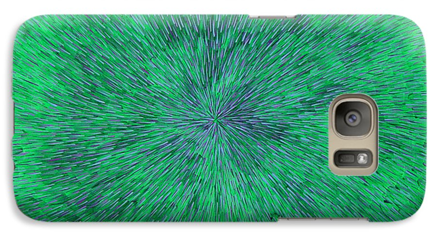 Abstract Galaxy S7 Case featuring the painting Green Radation With Violet by Dean Triolo