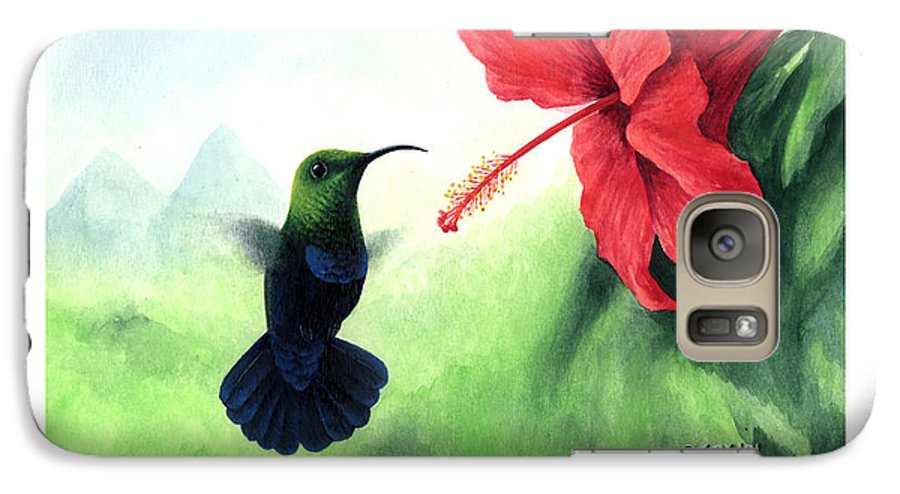 Chris Cox Galaxy S7 Case featuring the painting Green-throated Carib Hummingbird And Red Hibiscus by Christopher Cox