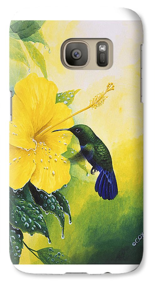 Chris Cox Galaxy S7 Case featuring the painting Green-throated Carib Hummingbird And Yellow Hibiscus by Christopher Cox
