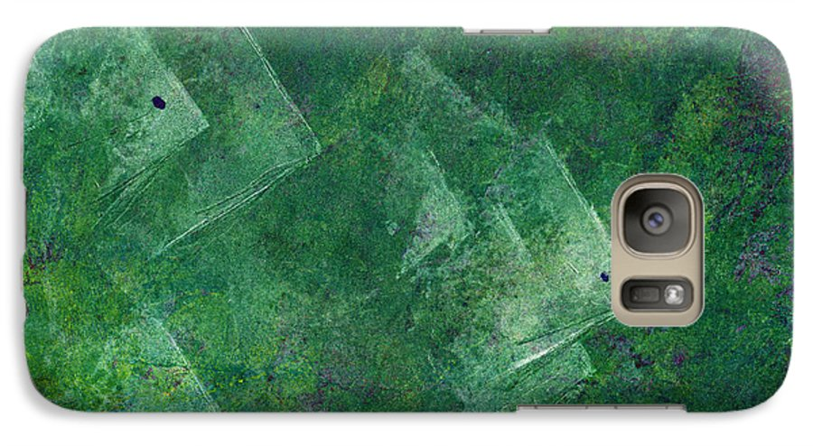 A School Of Fish In Green Water- Monotype Print Galaxy S7 Case featuring the painting Green Water by Mui-Joo Wee