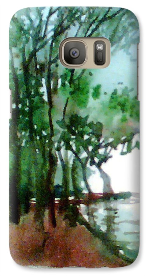 Water Color Galaxy S7 Case featuring the painting Greens by Anil Nene
