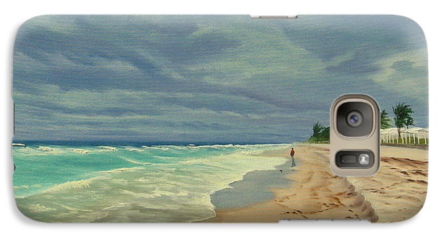 Beach Galaxy S7 Case featuring the painting Grey Day On The Beach by Lea Novak