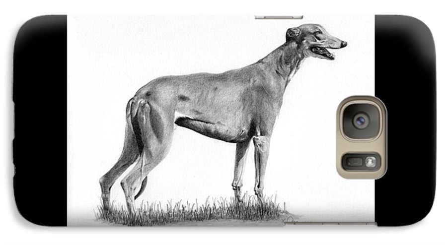 Dog Galaxy S7 Case featuring the drawing Greyhound by Karen Townsend