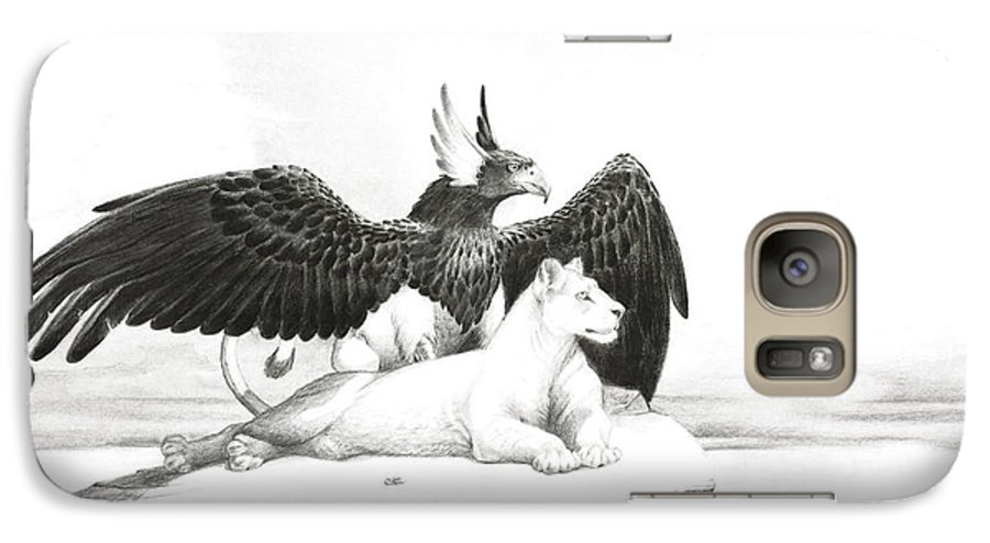 Griffin Galaxy S7 Case featuring the painting Griffin And Lioness by Melissa A Benson