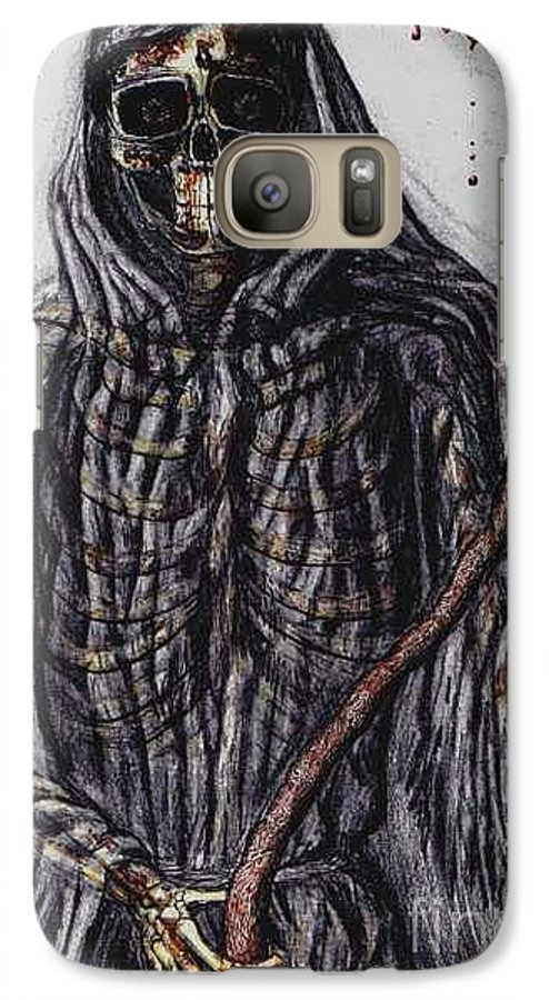 Grim Reaper Galaxy S7 Case featuring the drawing Grim Reaper Colored by Katie Alfonsi