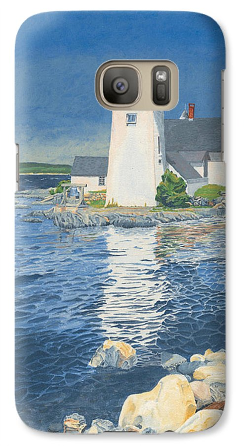 Lighthouse Galaxy S7 Case featuring the painting Grindle Point Light by Dominic White