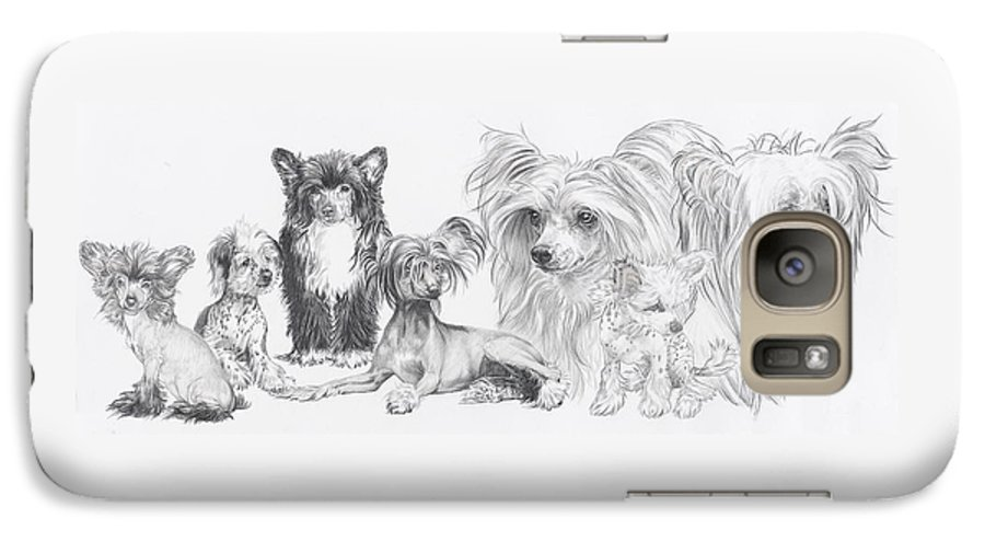 Dog Galaxy S7 Case featuring the drawing Growing Up Chinese Crested And Powderpuff by Barbara Keith