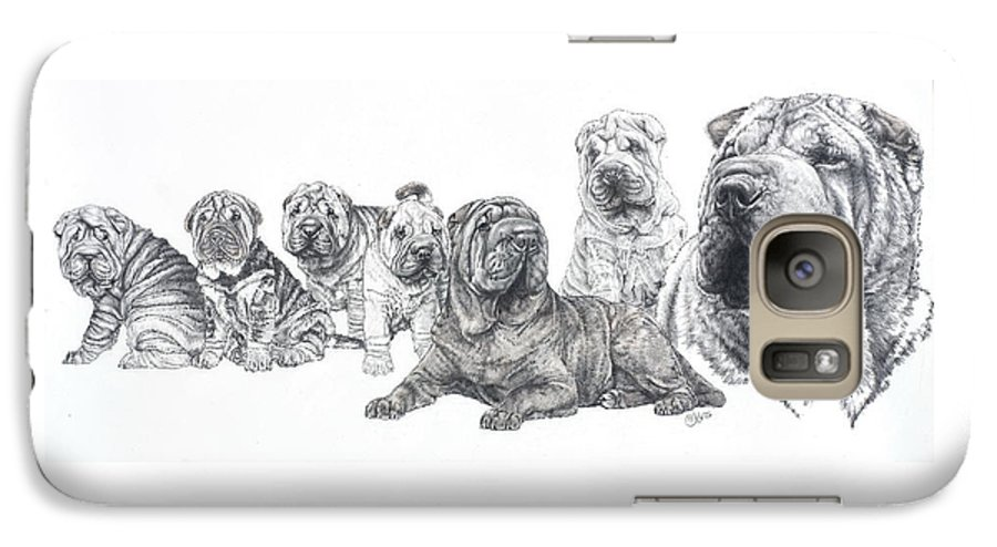 Non-sporting Group Galaxy S7 Case featuring the drawing Growing Up Chinese Shar-pei by Barbara Keith