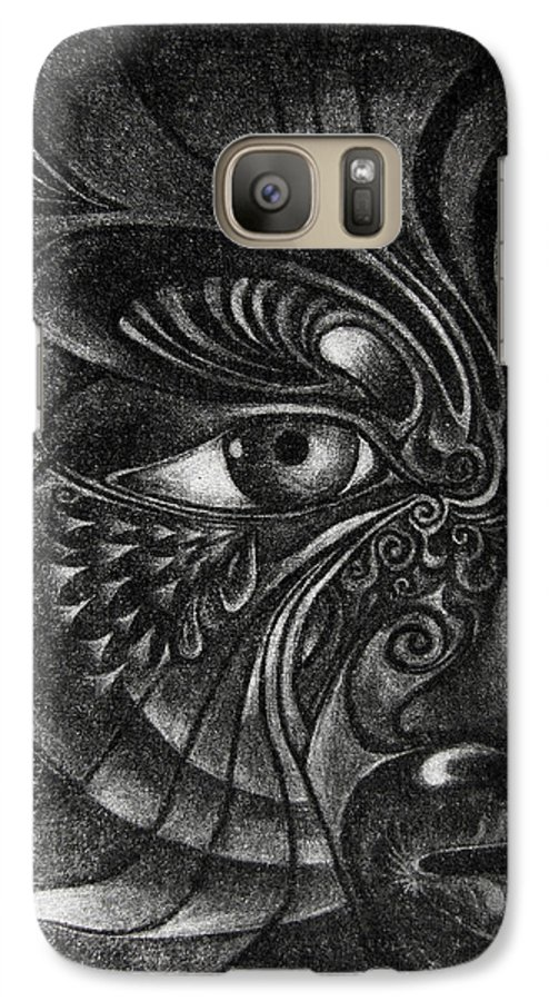 Mezzotint Galaxy S7 Case featuring the drawing Guardian Cherub by Otto Rapp