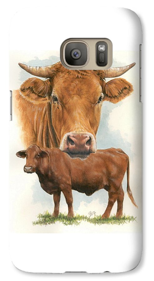 Cow Galaxy S7 Case featuring the mixed media Guernsey by Barbara Keith