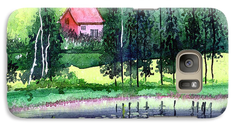 Landscape Galaxy S7 Case featuring the painting Guest House by Anil Nene